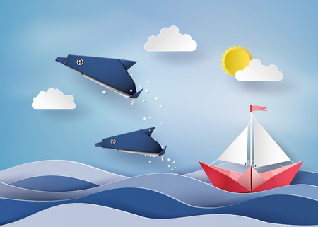 Illustration for Origami made dolphin and sailing boat  Float on sea  .paper art style. - Royalty Free Image