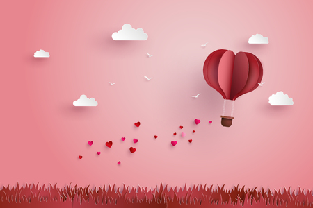 Ilustración de illustration of love and valentine day,Origami made hot air balloon fly over grass with heart float on the sky.paper art style. - Imagen libre de derechos