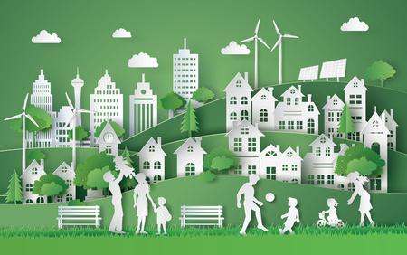 Ilustración de illustration of eco and world environment day with happy family.paper art style. - Imagen libre de derechos