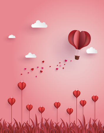 Ilustración de Greeting card of hot air balloon  fly over flower field ,concept of love and Valentine's Day. - Imagen libre de derechos