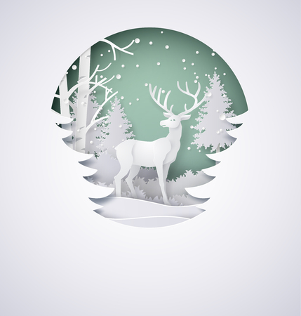 Illustration for Deer in forest with snow in the winter season and christmas.vector paper art style. - Royalty Free Image