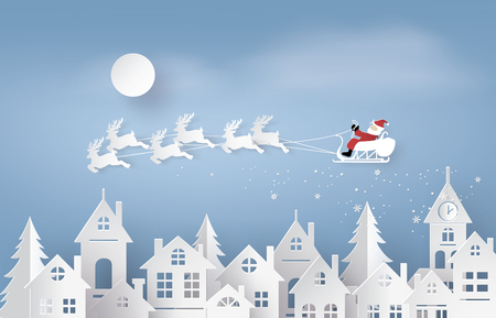 Illustration for Merry Christmas and Happy New Year. Illustration of Santa Claus on the sky coming to City ,paper art and craft style - Royalty Free Image