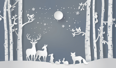 Illustration for Illustration of winter season and Merry Christmas . The animal in forest with fullmoon,paper art and craft style - Royalty Free Image