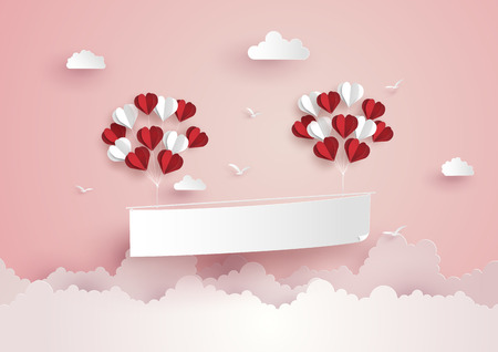 Illustration pour Illustration of Love and Valentine Day,Paper hot air balloon heart shape floating on the sky , Paper art and craft style. - image libre de droit