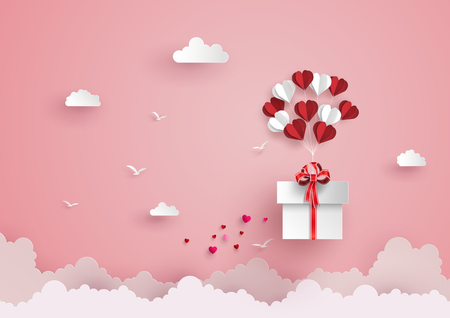 Illustration pour Illustration of love and valentine day, balloon heart shape hang the  gift box float on the sky.paper art style. - image libre de droit