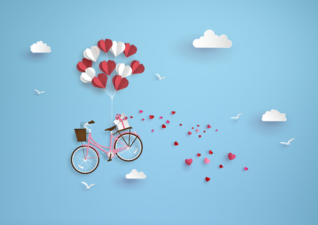 Ilustración de Illustration of love and valentine day, balloon heart shape hang the  pink bicycle float on the sky.paper art style. - Imagen libre de derechos