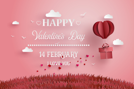 Illustration pour Illustration of love and valentine day,Origami made hot air balloon fly over grass with heart float on the sky.paper art style.  - image libre de droit