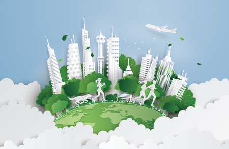 Illustration of eco concept,green cityon the skyf. Paper art and digital craft style.
