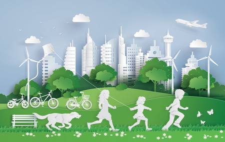 Ilustración de Illustration of eco  and environment with children running in the city park . Paper art and digital craft style. - Imagen libre de derechos