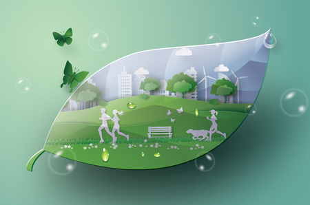 Illustration for  Illustration of eco concept,green city in the leaf. Paper art and digital craft style. - Royalty Free Image