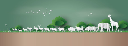 Illustration for World Wildlife Day with the animal in forest , Paper art and digital craft style. - Royalty Free Image