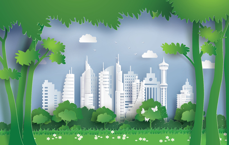 Illustration pour Illustration of ecology  and environment with green city. Paper art and digital craft style. - image libre de droit