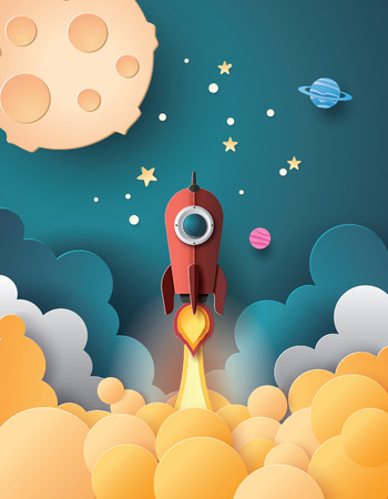 Ilustración de Space rocket launch and galaxy .paper art style. - Imagen libre de derechos