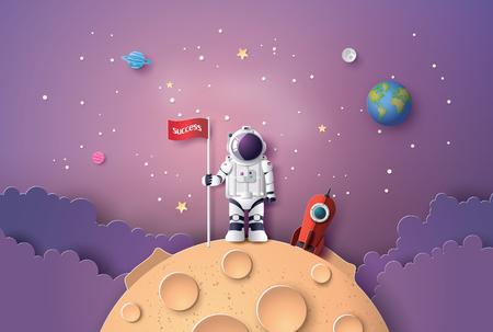 Ilustración de Astronaut with Flag on the moon, Paper art and digital craft style. - Imagen libre de derechos