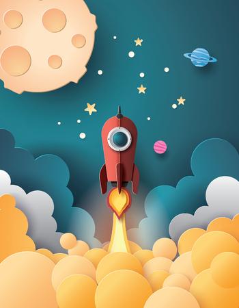 Illustration pour Space rocket launch and galaxy .paper art style. - image libre de droit
