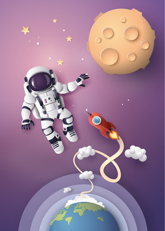Illustration pour Astronaut Astronaut floating in the stratosphere. Paper art and craft style. - image libre de droit