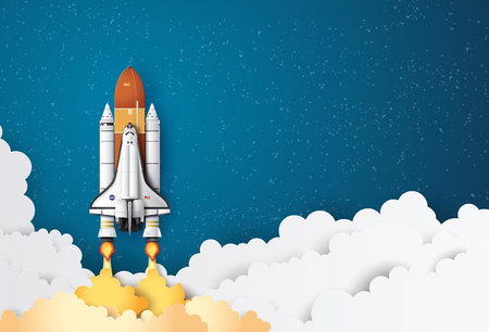 Illustration pour Business concept space shuttle launch to the sky, Paper art and craft style. - image libre de droit