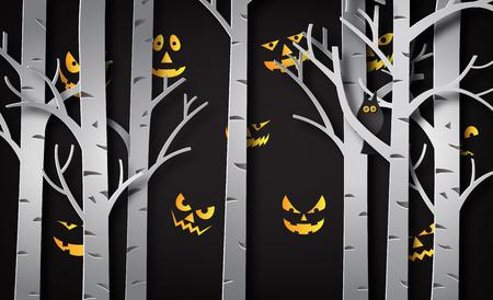 Illustration pour Paper art of happy halloween, Devil eye behind the tree - image libre de droit
