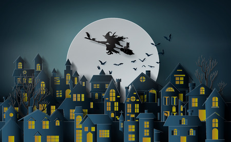 Illustration pour Paper art of happy halloween, Witch riding a broom flying in the sky over the abandoned village - image libre de droit