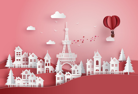 Illustration pour concept of valentine's day and wedding ,couple in love hugging in a basket of heart hot air balloon fly over the village, paper art and digital craft. - image libre de droit