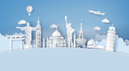 Ilustración de Illustration of world tourism day, Paper art stlye. - Imagen libre de derechos