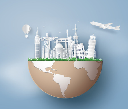 Ilustración de Illustration of world tourism day, Paper art stlye. - Imagen libre de derechos