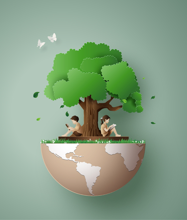 Ilustración de Concept of ecology and environment with children read a book under tree.Paper art 3d from digital craft style. - Imagen libre de derechos