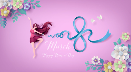 Illustration pour International Women's Day 8 march with frame of flower and leaves , Paper art 3d from digital craft style. - image libre de droit