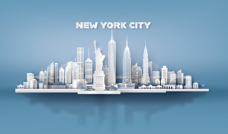 Ilustración de Manhattan,New York City with urban skyscrapers, Paper art 3d from digital craft style. - Imagen libre de derechos