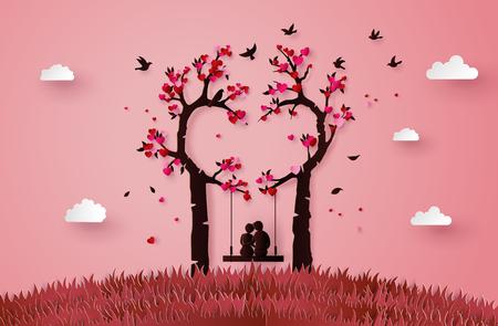Illustration pour illustration of two enamored under a love tree, paper art 3d form digital craft. - image libre de droit