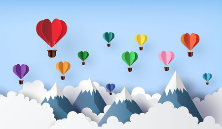 Illustration pour Origami made hot air balloon in a heart shape float over the mountain. paper art 3d from digital craft. - image libre de droit