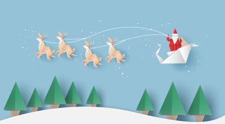Ilustración de Origami of Santa claus is carrying a gifts sack,reindeer and Christmas trees,vector illustration paper art style. - Imagen libre de derechos