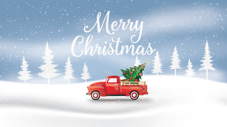 Ilustración de Merry Christmas and Happy New Year  with red truck and christmas tree. paper art 3D style. - Imagen libre de derechos