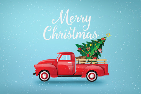 Illustration pour Merry Christmas and Happy New Year  with red truck and christmas tree. - image libre de droit