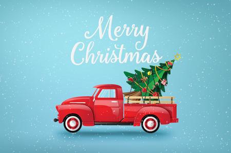 Ilustración de Merry Christmas and Happy New Year  with red truck and christmas tree. - Imagen libre de derechos