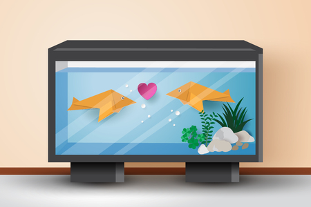 Illustration pour Origami fishes fall in love with each other in the fish tank,vector illustration paper art style. - image libre de droit