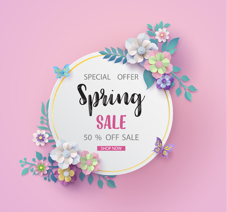 Ilustración de Spring sale background with beautiful blossom paper flower - Imagen libre de derechos