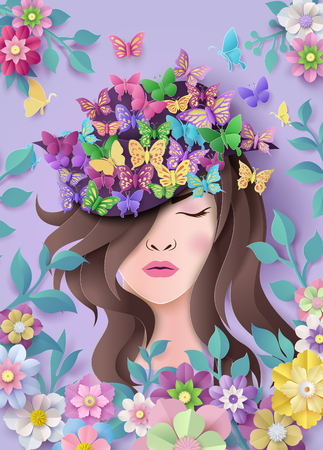 Ilustración de International Women's Day 8 march with frame of flower and leaves , Paper art style. - Imagen libre de derechos