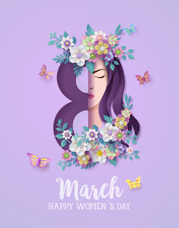 Illustration pour International Women's Day 8 march with frame of flower and leaves , Paper art style. - image libre de droit