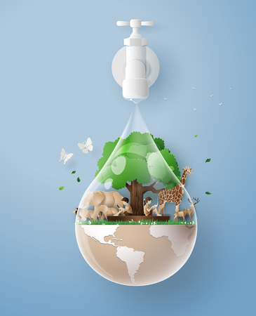 Illustration pour concept of eco and wolrd water day .paper art and craft style - image libre de droit
