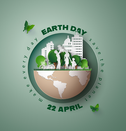 Ilustración de World environment and earth day concept, paper cut 3d . - Imagen libre de derechos