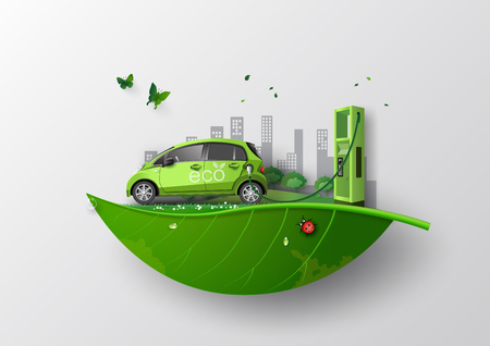 Ilustración de concept of Environmentally friendly  with eco car .paper art and craft style. - Imagen libre de derechos