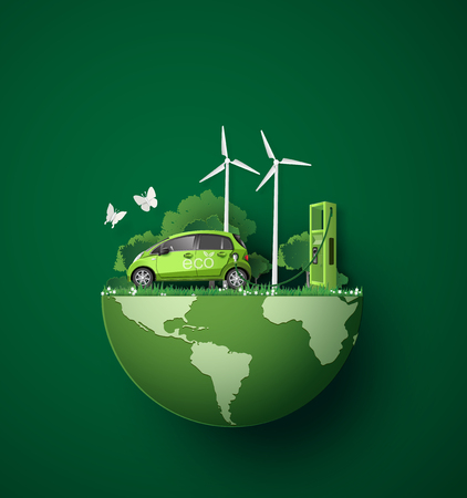 Illustration for concept of Environmentally friendly  with eco car .paper art and craft style. - Royalty Free Image
