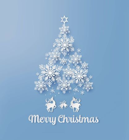 Illustration pour Christmas Greeting Card with snowflake and deer  Paper cut style. - image libre de droit