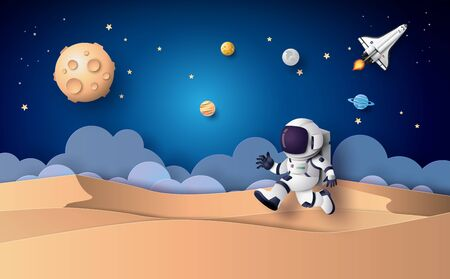 Illustration pour Astronaut floating in the stratosphere. Paper art and craft style. - image libre de droit