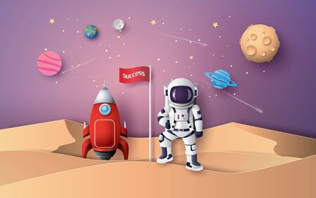 Illustration pour Astronaut with Flag on the moon, Paper art and digital craft style. - image libre de droit