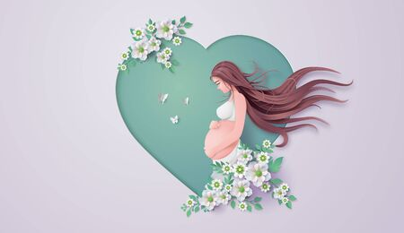 Illustration pour Happy Mother's day greeting card. Paper cut flower  frame with Pregnant woman. - image libre de droit