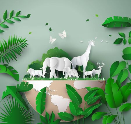 Ilustración de World Wildlife Day with the animal in forest, Paper art and digital craft style. - Imagen libre de derechos