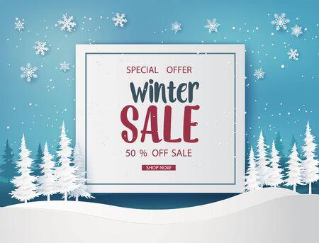 Illustration pour Winter sale  banner design with white snowflakes. paper art style. - image libre de droit