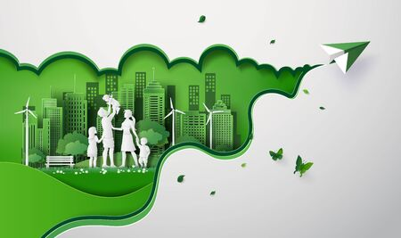 Illustration for concept of eco with happy family on the field and paper plane. paper art cut style - Royalty Free Image